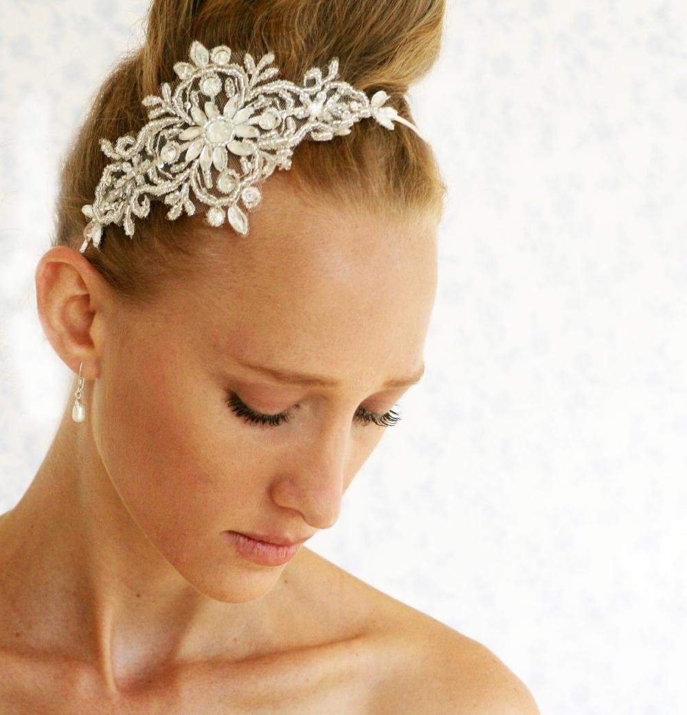 399074312df32 BOGO SALE -bridal Lace Headpiece - Silvery Crown - Chantilly Crystals And  Rhinestone Silvery Lace Headpiece