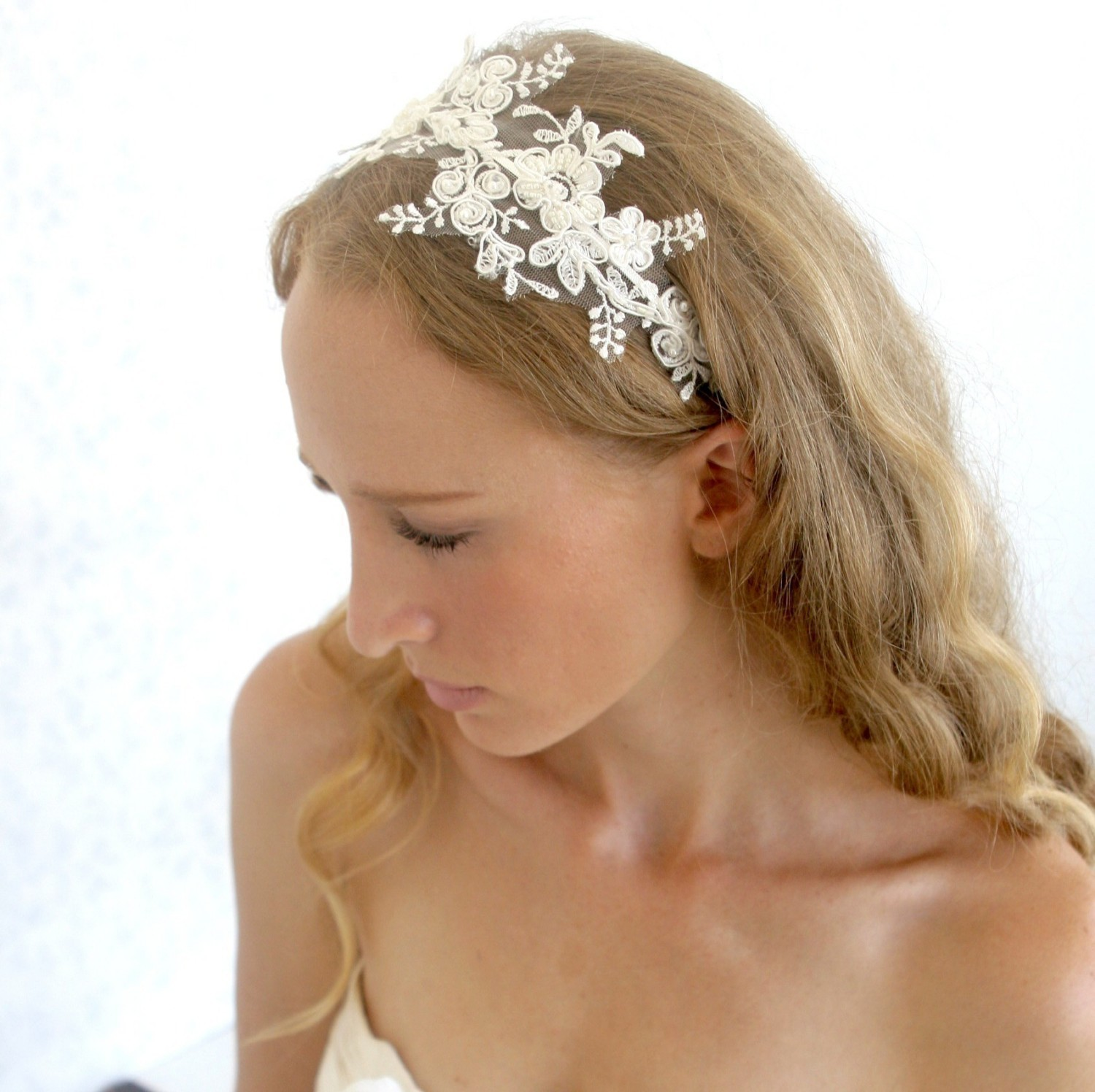 bogo sale - lace headpiece - bridal ivory beaded lace with pearls